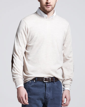 Fine-Gauge Knit Elbow-Patch Sweater, Button-Down Shirt & Basic Fit Jeans