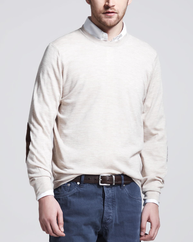 Mens Fine Gauge Knit Elbow Patch Sweater, Oatmeal   Brunello Cucinelli
