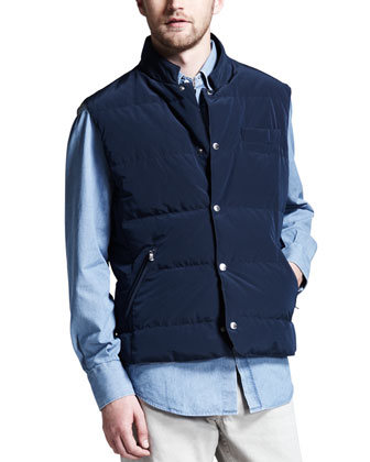 Microfiber Snap Vest, Chambray Button-Down Shirt & Basic Fit Jeans