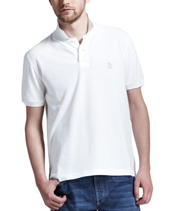 White Pique Logo Polo & Lightweight Medium Wash Jeans