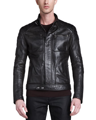 Weybridge Leather Bomber Jacket, Crew Neck Moto Sweater & Blackrod Moto ...