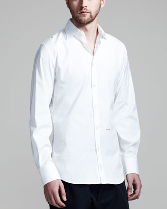 Dean & Dan Stretch Poplin Shirt, White