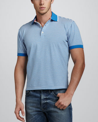 Overwash Fine Striped Polo, Blue