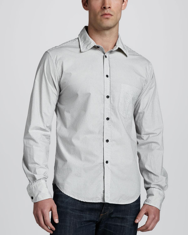 Mens Yokohama Printed Long Sleeve Shirt   Rag & Bone   White (XXL/46)