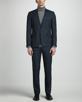 Two-Button Peak-Lapel Suit & Basketweave Turtleneck Sweater