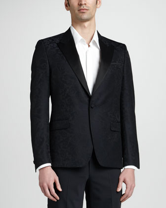Vine-Print Jacquard Evening Jacket, Black