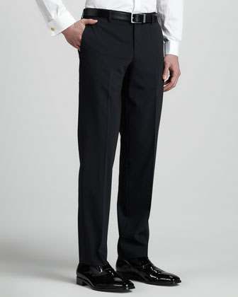 Tuxedo Pants with Satin Side-Stripe, Black
