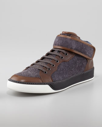 Loden Calfskin Mid-Top Sneaker