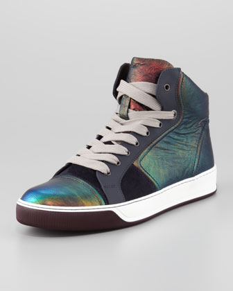 Iridescent Leather High-Top Sneaker