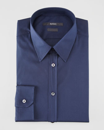 Slim-Fit Solid Dress Shirt, Navy