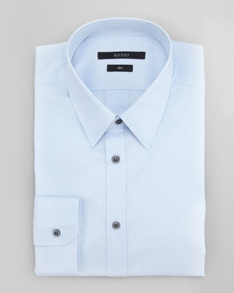 Diamante Slim-Fit Dress Shirt, Light Blue