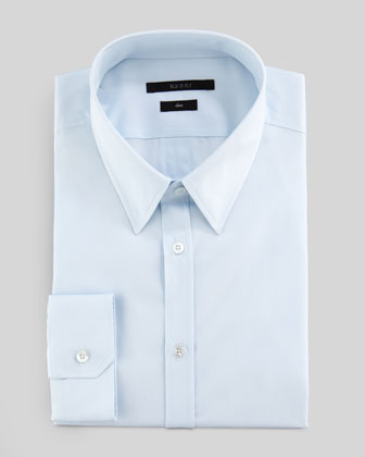 Woven GG Slim Dress Shirt, Light Blue