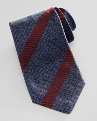 Interlocking-G Striped Silk Tie, Navy/Red