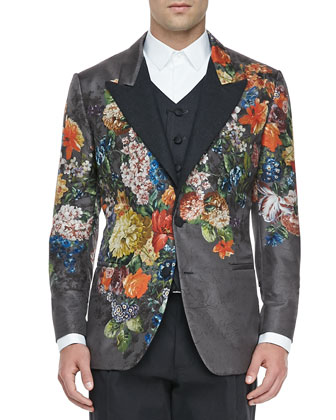 Floral-Jacquard Evening Jacket, Six-Button Vest, Point-Collar Tuxedo Shirt, ...