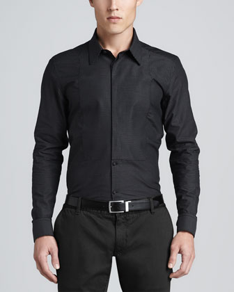 Pindot Dress Shirt, Black/White