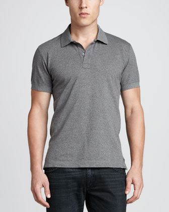 Short-Sleeve Logo Pique Polo, Dark Gray