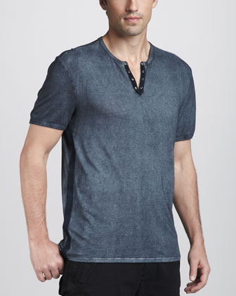 Contrast-Placket Short-Sleeve Henley, Storm