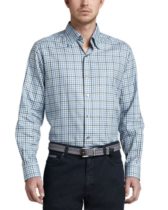 Long-Sleeve Plaid Sport Shirt, Navy/Blue/Sage