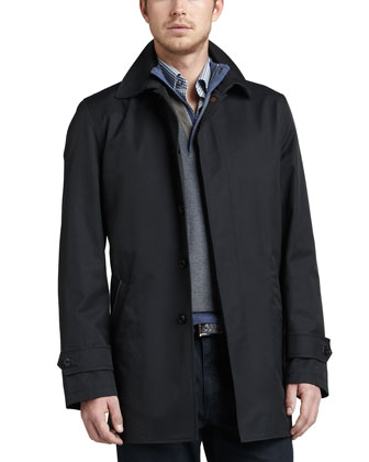City Cotton-Blend Zip Coat, Navy