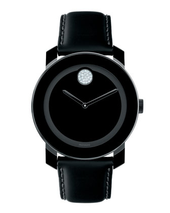 Bold Crystal Dot Leather Watch, Black
