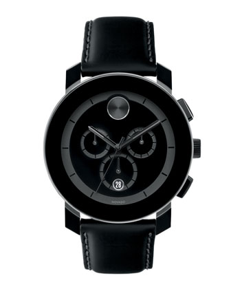 43.5mm Bold Chronograph Leather Watch, Black