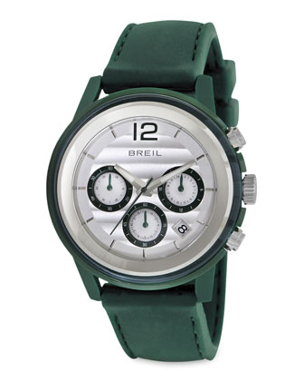 Orchestra Silicon-Strap Chronograph Watch, Green