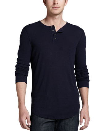 Ribbed Round-Hem Henley, Midnight Navy