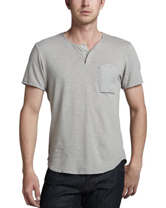 Shadow-Stripe Slub Shirt