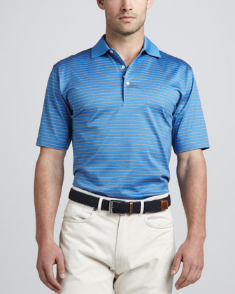 Richardson Striped Polo, Marina Blue