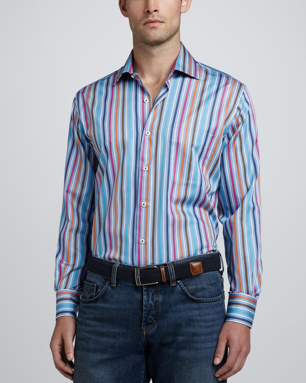 Mens Multi Stripe Long Sleeve Shirt   Peter Millar   Multi (X LARGE)