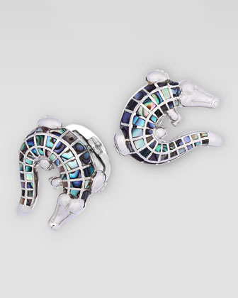 Abalone Inlay Croc Cuff Links