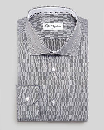 Lambert Herringbone Dress Shirt, Gray