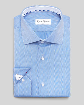 Lambert Herringbone Dress Shirt, Blue