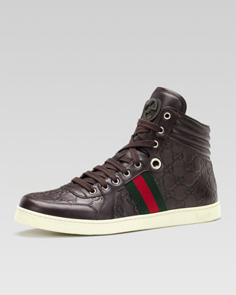 Coda Guccissima Leather High-Top Sneaker, Brown