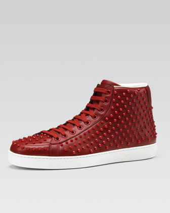 Brooklyn Leather Studded High-Top Sneaker, Red