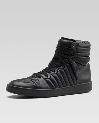 Hudson Padded Nylon High-Top Sneaker, Black