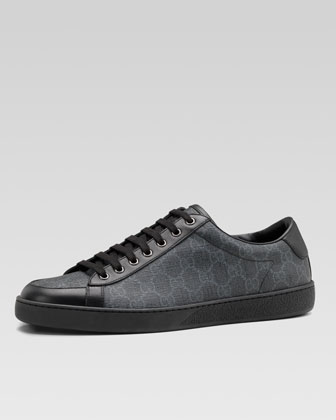 Brooklyn GG Supreme Fabric Lace-Up Sneaker, Black