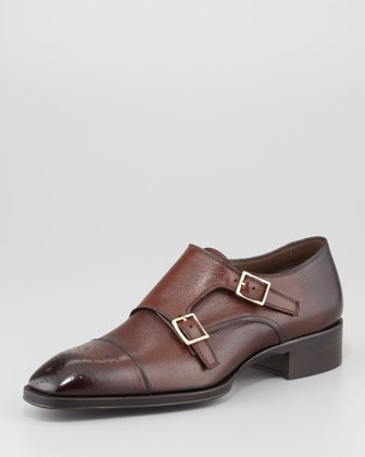 Gianni Double-Monk Strap Loafer, Brown