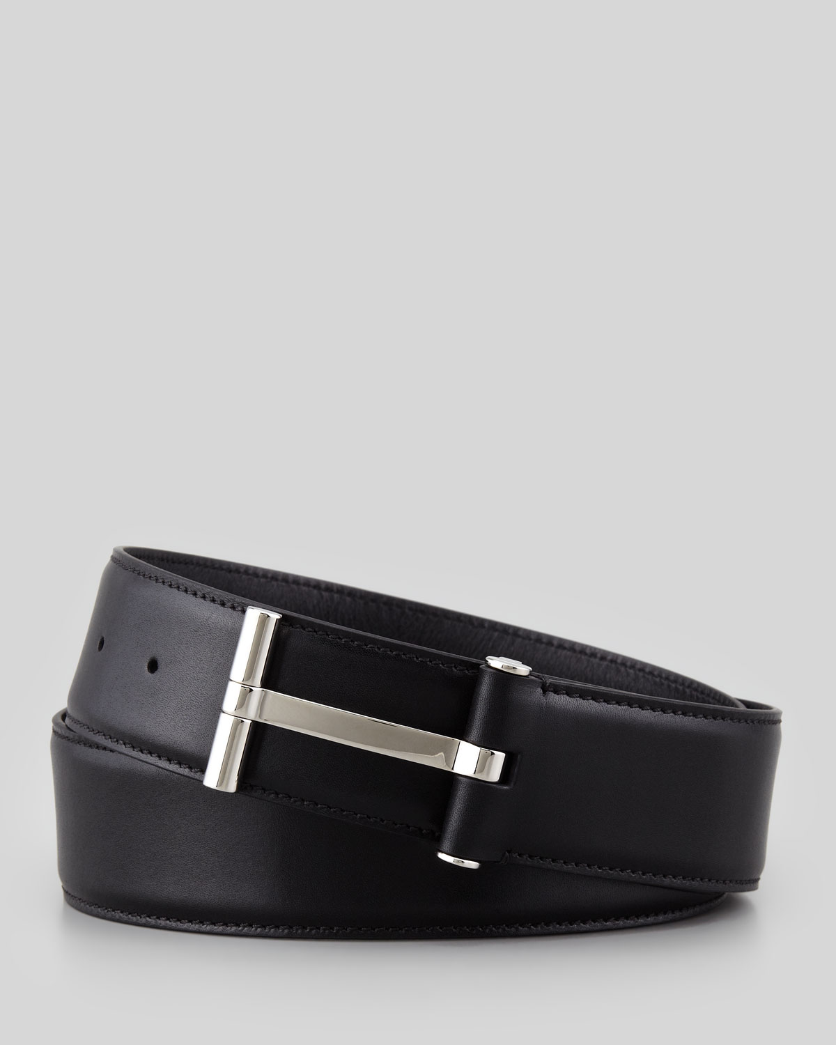 Mens Leather T Buckle Belt, Black   Tom Ford