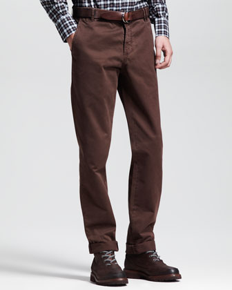 Twill Six-Pocket Pants, Brown
