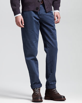 Basic Slim-Fit Aviator Pants, Castagnia