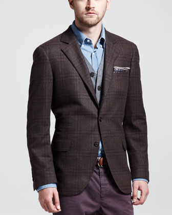 Glen Plaid Sport Coat, Brown