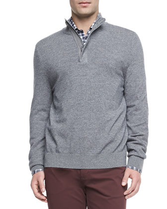 Tricolor Quarter-Zip Sweater