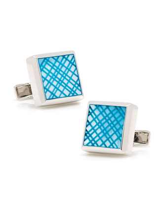 Laser Cut Cuff Links, Blue