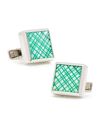 Laser Cut Cuff Links, Green