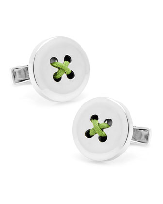 Round Button Cuff Links, Green