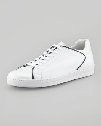 Saffiano Colorblock Sneaker, White/Black