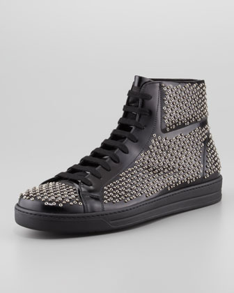 Studded Spazzolato High-Top Sneaker