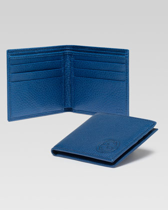 Soho Leather Bi-Fold Wallet, Blue