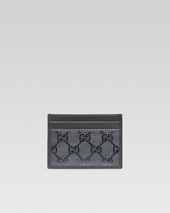 GG Imprime Leather Card Case, Platinum